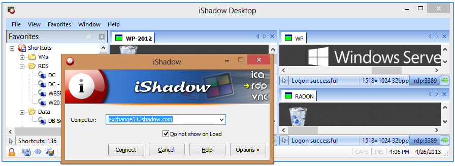 iShadow Desktop screen