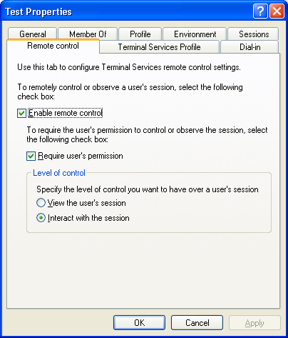 User profile dependent session settings