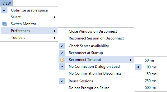 View menu - selecting reconnect timeout when [Check Server Availability] menu is checked