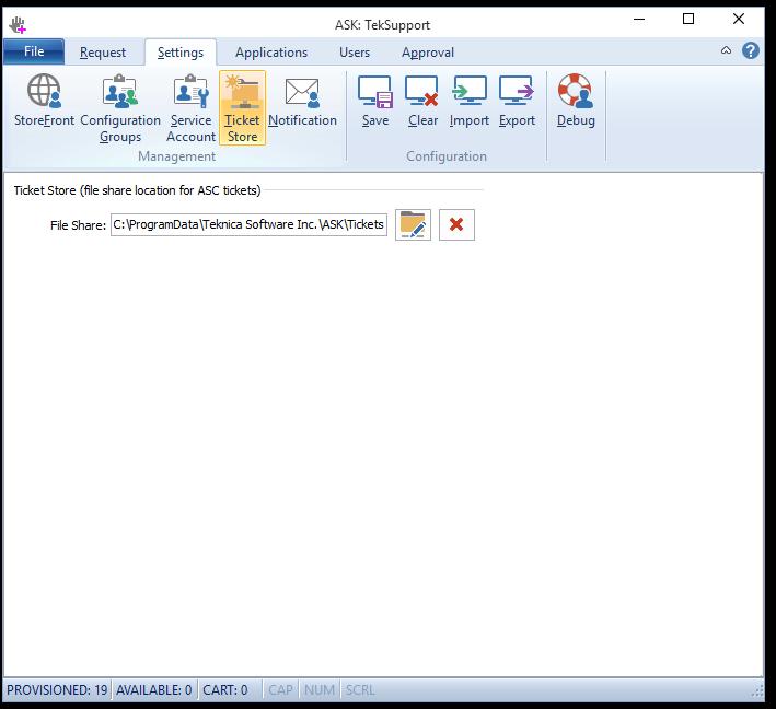 Authorization Ticket folder configuration